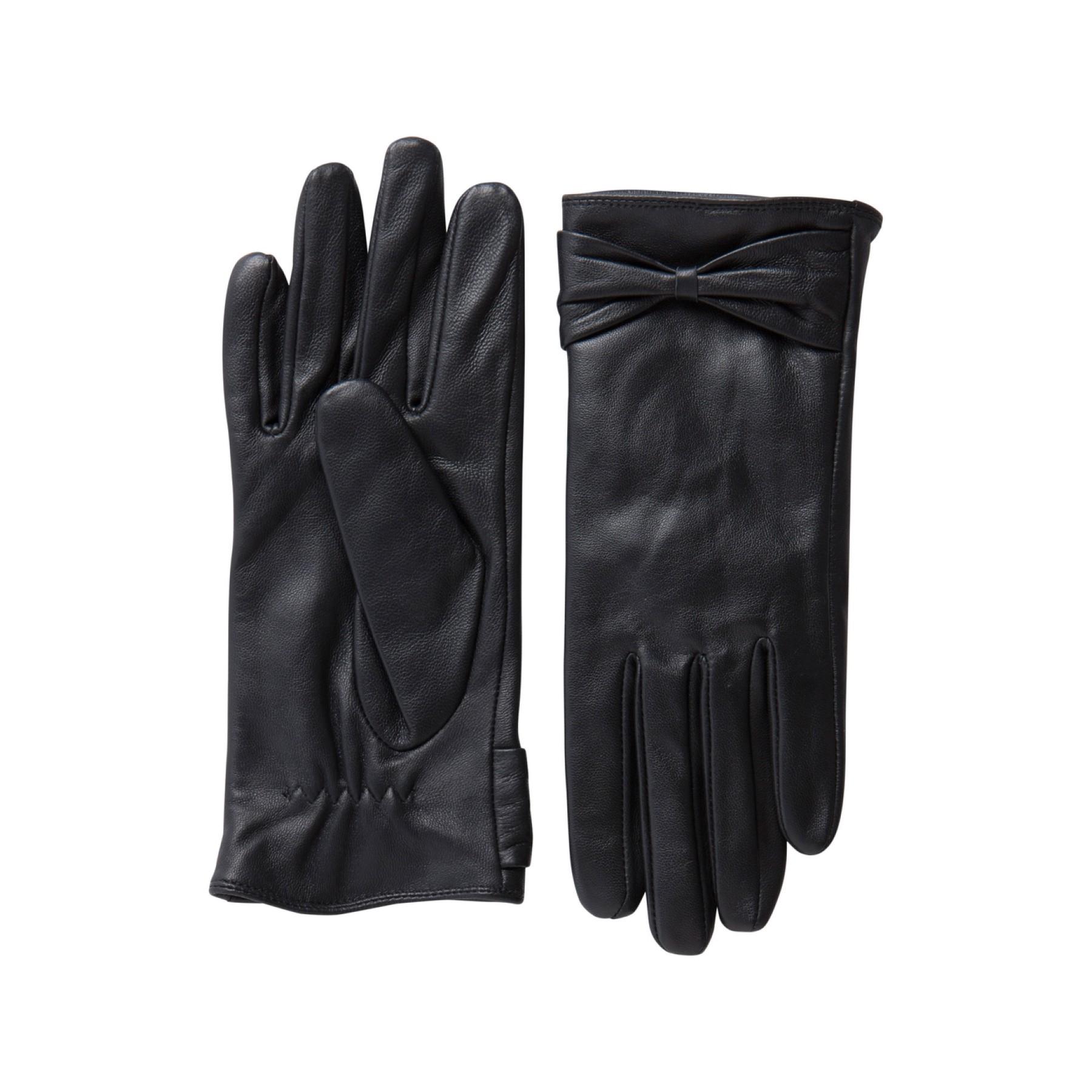 Pieces Naisten Nahkakäsineet, Asle Bow Leather Musta