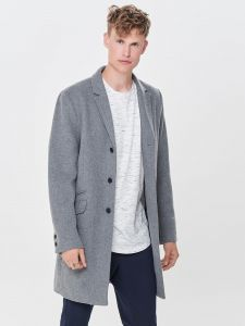 Only and Sons Miesten Villakangastakki, Julian Solid Wool Coat Vaaleanharmaa