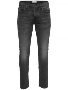 Only and Sons Miesten Farkut, Loom Black 447 Washed Hiilenmusta
