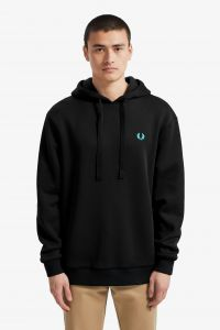 Fred Perry Miesten Collegehuppari, Process Colour Hooded Musta