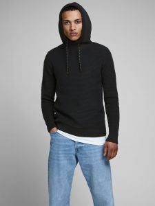 Jack and Jones huppari, JCOSPRUCE KNIT HOOD K Musta