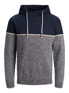 Jack and Jones huppari, JOBRAYSON KNIT HOOD Tummansininen