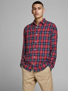 Jack and Jones kauluspaita, JAKE SHIRT COMFORT Punainen Ruutu