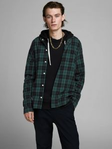 Jack and Jones kauluspaita, JAKE SHIRT COMFORT Vihreä Ruutu