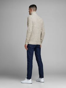 Jack and Jones neule, JEFFREY KNIT TURTTLE ZIP Luonnonvalkoinen