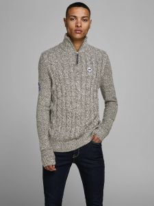 Jack and Jones neule, JEFFREY KNIT TURTTLE ZIP Tummanharmaa
