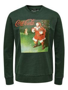 Only and Sons Miesten Collegepusero, Coca Cola Xmas Regular Sweat Ruohonvihreä