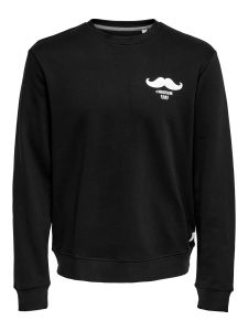 Only and Sons Miesten Collegepusero, Silas Slim Crew Neck Musta