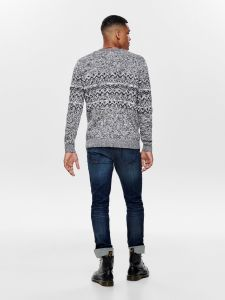 Only and Sons Miesten Neule, Tomas Knit Harmaa Kuosi