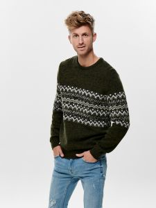 only-and-sons-miesten-neule-tomas-knit-vihrea-kuosi-1