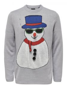Only and Sons Miesten Neule, Xmas 7 Fun Budge Jaquard Knit Keskiharmaa