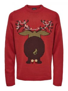 Only and Sons Miesten Neule, Xmas 7 Fun Budge Jaquard Knit Kirkkaanpunainen