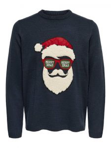 Only and Sons Miesten Neule, Xmas 7 Fun Budge Jaquard Knit Tummansininen