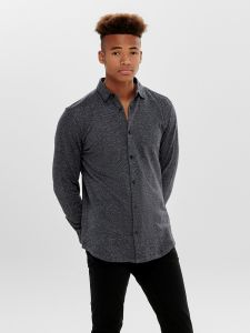Only and Sons Miesten Pusero, Gabriel Ls Knitted Shirt Tummansininen