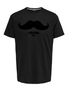 Only and Sons Miesten T-paita, Saxon Slim Movember Musta