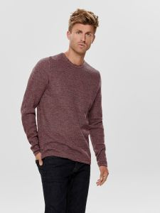 only-and-sons-neule-wictor-structure-crew-neck-punainen-kuosi-1