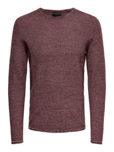 only-and-sons-neule-wictor-structure-crew-neck-punainen-kuosi-2