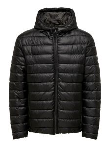 Only and Sons takki, Steven Quilted Hood  Musta