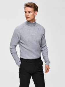 Selected Miesten Pooloneule, Carlos Cable Roll Neck Vaaleanharmaa