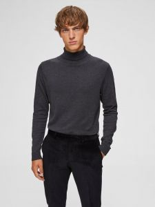 Selected Miesten Pooloneule, Tower Roll Neck Tummanharmaa