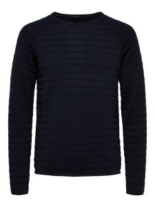 selected-miesten-puuvillaneule-troy-crew-neck-tummansininen-1