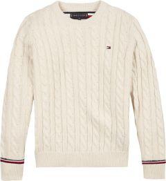 Tommy Hilfiger Childrenswear, Lasten neulepaita, Essential Cable Sweater Knit  Luonnonvalkoinen