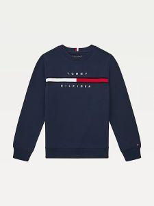 Tommy Hilfiger Childrenswear Poikien Collegepaita FLAG RIB INSERT SWEATWHIRT Tummansininen