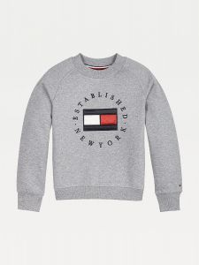 Tommy Hilfiger Childrenswear, Lasten Collegepaita, Heritage Logo Crew Sweatshirt Keskiharmaa