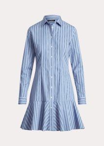 Ralph Lauren Naisten Mekko TRIELLA-LONG SLEEVE-CASUAL DRESS Raidallinen Sininen