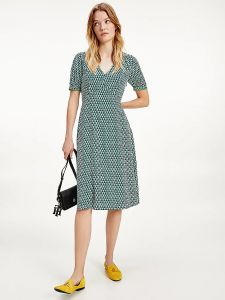 tommy-hilfiger-naisten-mekko-vis-poplin-f-f-knee-dress-vihrea-kuosi-1
