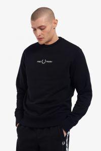 fred-perry-miesten-collegepaita-embroidered-sweatshirt-musta-1