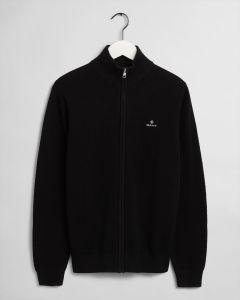 gant-miesten-neuletakki-cotton-pikee-zip-cardigan-musta-1