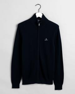 gant-miesten-neuletakki-cotton-pikee-zip-cardigan-tummansininen-1