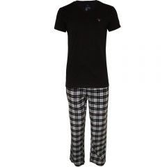 gant-miesten-pyjama-pj-set-flannel-pant-and-logo-t-tummansininen-1
