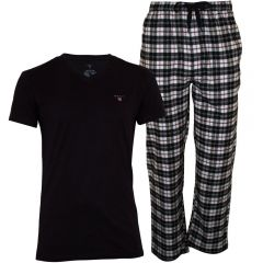 gant-miesten-pyjama-pj-set-flannel-pant-and-logo-t-tummansininen-2