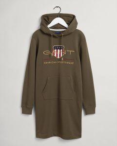 gant-naisten-collegemekko-archive-shield-hoodie-dress-armeijanvihrea-1
