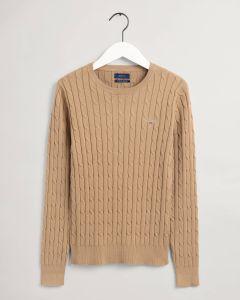 gant-naisten-neule-cable-knit-o-neck-kameli-1
