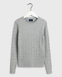 gant-naisten-neule-cable-knit-o-neck-vaaleanharmaa-1