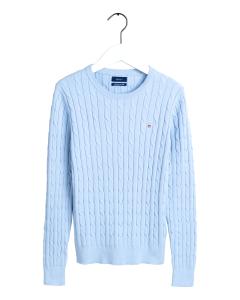 gant-naisten-neule-cable-knit-o-neck-vaaleansininen-1