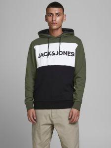 jack-and-jones-miesten-huppari-jjelogo-bloking-sweat-hood-vihrea-kuosi-1