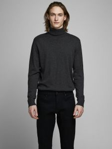jack-and-jones-miesten-pooloneule-eemil-knit-roll-neck-tummanharmaa-1