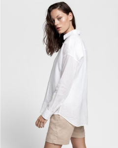 Gant Naisten Pusero, The Linen Chambray Shirt Valkoinen