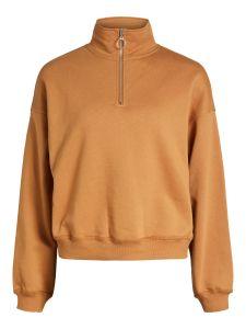 object-naisten-collegepaita-kaisa-ls-zip-sweat-pullover-konjakinruskea-1