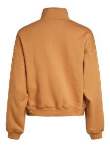 object-naisten-collegepaita-kaisa-ls-zip-sweat-pullover-konjakinruskea-2
