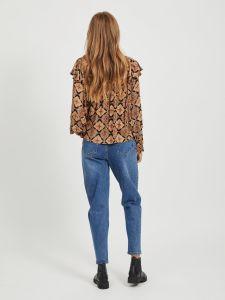 object-naisten-paita-lisa-ls-frill-top-oranssi-kuosi-2
