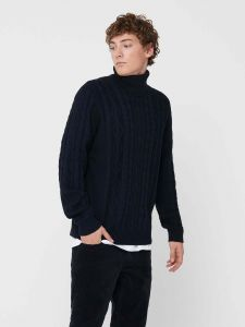 only-and-sons-miesten-neulepaita-rigge-cable-roll-neck-tummansininen-1