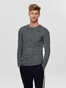 only-and-sons-neule-wictor-structure-crew-neck-sininen-kuosi-1