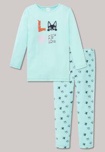 schiesser-lasten-pyjama-kids-tyttojen-yoasu-kissa-mintunvihrea-1