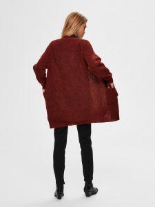 Selected Femme Naisten Neuletakki, SLFLulu LS Knit Long Cardigan NOOS Poltettu Oranssi