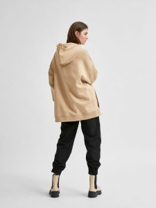 selected-femme-naisten-huppari-slfdrew-ls-hood-sweat-kameli-2